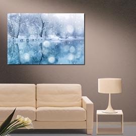 Modern Winter Snow Lake Scenery 1-Panel Wall Art Print