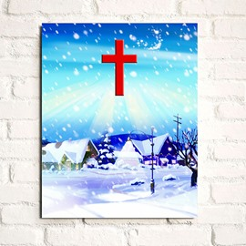Festival Cottage in Snowing Winter 1-Panel Wall Art Print