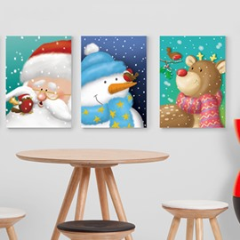 Festival Christmas Theme Santa Claus and Snowman and Deer Pattern 3-Panel Framed Wall Art Prints