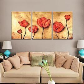 Wonderful Oil Painting Red Flowers 3-Panel Frameless Wall Art Prints
