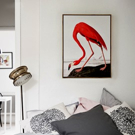 Modern Red Crane 1-Panel Framed Wall Art Print