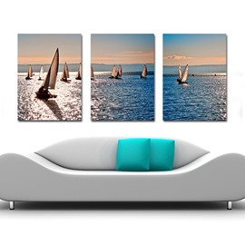 Creative Sailing Boats in the Quiet Sea 3-Panel Canvas Wall Art Prints