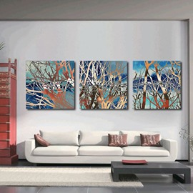 16×16in×3 Panels Branches Abstract Style Hanging Canvas Waterproof and Eco-friendly Framed Prints