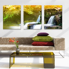 Wonderful Natural Waterfall 3-Panel Canvas Wall Art Prints