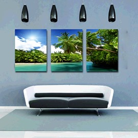 Wonderful Coastal Resort and Palm Trees 3-Panel Canvas Wall Art Prints