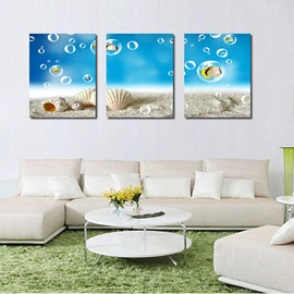 Fantastic Seashells in Beach 3-Panel Canvas Wall Art Prints