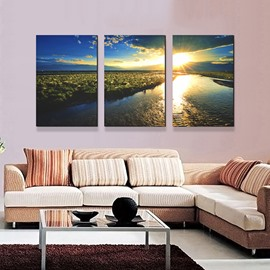 Picturesque Lake in Flittering Sun 3-Panel Canvas Wall Art Prints