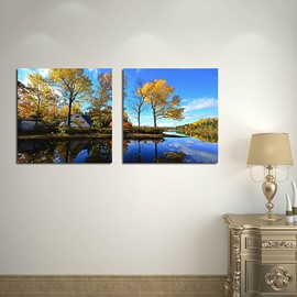 Picturesque Natural Scenery Lake and Trees 2-Panel Canvas Wall Art Prints