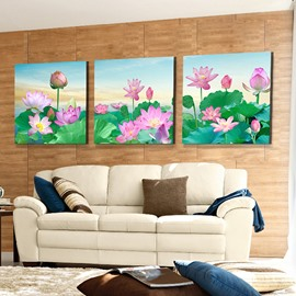 Stunning Pink Lotus and Green Lilypad 3-Panel Canvas Wall Art Prints