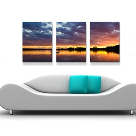 16×16in×3 Panels Sunset Hanging Canvas Waterproof Eco-friendly Framed Prints