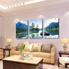 Wonderful Natural Scenery Lake and Mountains 3-Panel Canvas Wall Art Prints