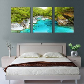 Beautiful Nature Crystal Blue Creek in Valley 3-Panel Canvas Framed Wall Prints