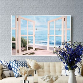 21×31in Fake Window Beach in Hanging Canvas Waterproof and Eco-friendly Framed Prints