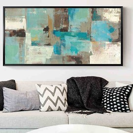 20×39in Plaids Abstract School Painting Hanging Canvas Waterproof and Eco-friendly Framed Prints