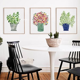 Simple 3 Pieces Pot Plant Flower Wall Art Prints