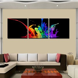 Modern Design Colorful Water 3-Panel Canvas Framed Wall Art Prints