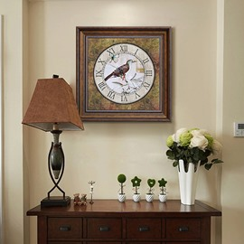 Classic European Style Bird Clock Pattern Framed Wall Art Print