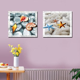 Lovely Square Starfish and Shell Pattern Canvas Framed Wall Art Prints