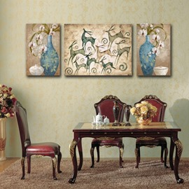 Classic Decorative Flower Vase and Deer Pattern Canvas Stretched Framed Wall Art Prints