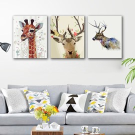 Lovely Rectangle Giraffe and Deer Pattern 3 Pieces None Framed Wall Art Prints