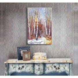 Autumn Birch Forest Scenery Pattern Ready to Hang None Framed Wall Art Prints