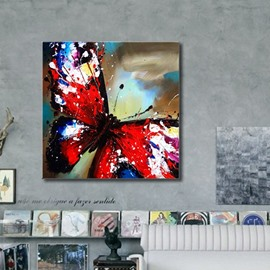 Special Square Red Butterfly Pattern Canvas Stretched Framed Wall Art Prints