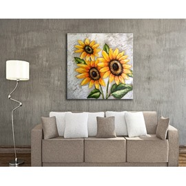 20×20in Sunflowers Handmade Hanging Canvas Waterproof and Eco-friendly Framed Prints