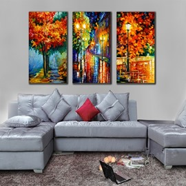Handmade Colorful Autumn Scenery in the Rain 3 Pieces Canvas Stretched None Framed Wall Art Prints