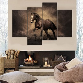 Stunning Unique Design Horse Pattern 4 Panels Canvas Framed Decorative Wall Picture Prints