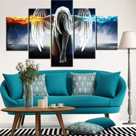 Angel Wings 5-Piece Canvas Waterproof and Eco-friendly Hanging Non-framed Wall Prints