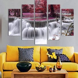 72 Red Forest and Waterfall 5 Piece Canvas Hung Non framed Wall Prints Cheap Art Paintings for Home  Office Online Sale