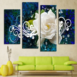 White Flower 4-Piece Canvas Hung Non-framed Wall Prints