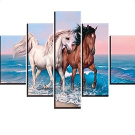 Running Horses and Sea 5-Piece Canvas Non-framed Wall Prints