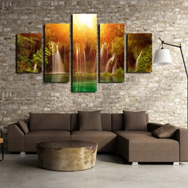 Sunshine and Waterfall 5-Piece Canvas Non-framed Wall Prints