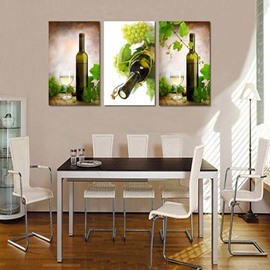 Stunning Grape and Wine Glasses Pattern 3 Panels Framed Wall Art Prints