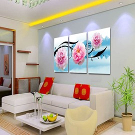Pink Flowers and Lake Scenery Pattern Hanging 3 Panels Waterproof Framed Prints