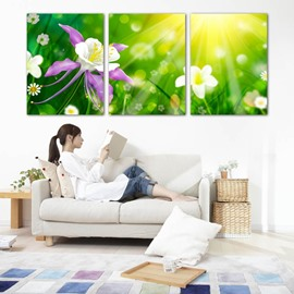 Green Flowers Pattern 3 Panels Ready to Hang Framed Wall Art Prints