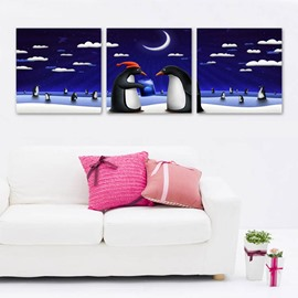 Blue Two Lovely Penguin Pattern Design 3 Panels Framed Wall Art Prints