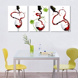 Creative Pouring Red Wine Pattern Design 3 Panels Framed Wall Art Prints