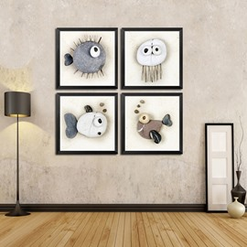 White Cute Stone Fishes Pattern 4-panel Framed Wall Art Prints