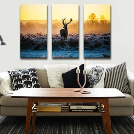 Natural Deer in Prairie Pattern 3 Pieces Framed Wall Art Prints