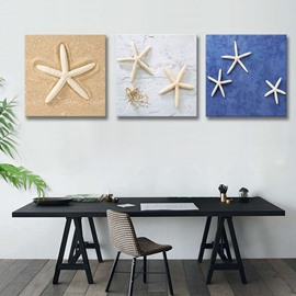 Three Colors Starfishes Pattern Design Ready to Hang Framed Wall Art Prints