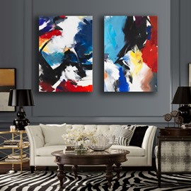 Abstract Colorful Painting 2 Pieces None Framed Wall Art Prints