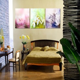 Three Colors Flowers Pattern 3 Panels Canvas None Framed Wall Art Prints