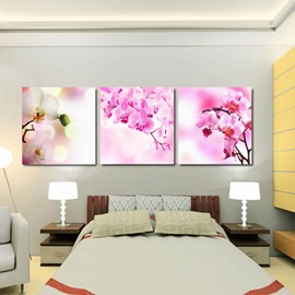 Pink Butterfly Orchid Flower Pattern 3 Panels None Framed Wall Art Prints