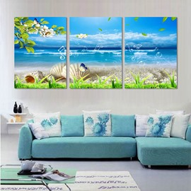 Blue Seaside Scenery Pattern None Framed Canvas Ready to Hang Wall Art Prints