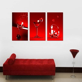 Red Wine Glasses 3-Piece Fabric Hanging Rectangles Framed Wall Prints