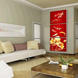 Red Flowers and Goldfishes Pattern Framed 3 Panels Wall Art Prints