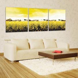 Stunning Country Style Flower Field Pattern 3 Pieces Framed Wall Art Prints