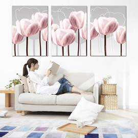 Decorative Pink Flowers Pattern Ready to Hang Framed Wall Art Prints